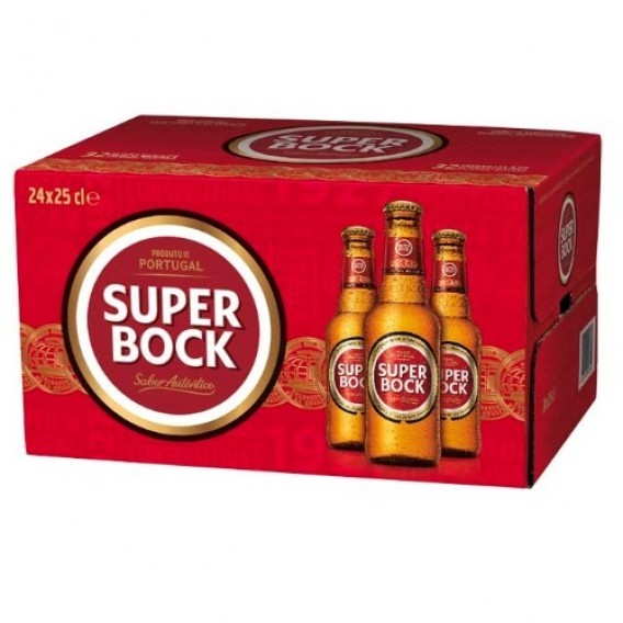 Super Bock Mini Cerveja Caixa / Super Bock Mini bier doos 24 x 25 CL.